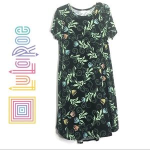Lularoe Carly Dress Flowy Green Leaf Floral Design